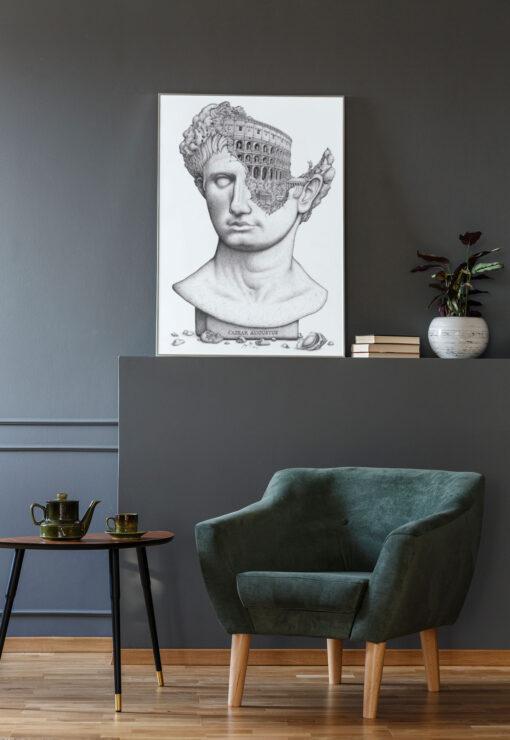 Caesar Augustus Artwork Printed and Frmaed