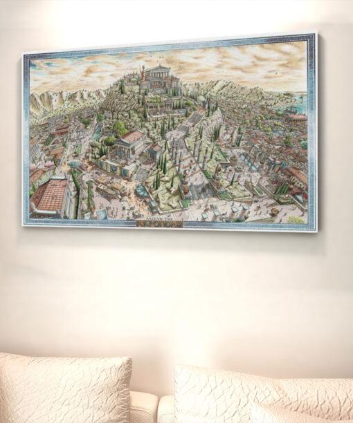 Ascend the Acropolis Greek Artwork Canvas Print