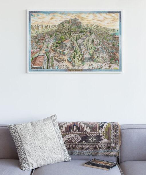 Ascend the Acropolis Greek Artwork Canvas