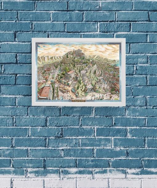 Ascend the Acropolis Greek Artwork Framed Print
