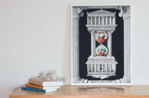 Greece through time Art Canvas Print