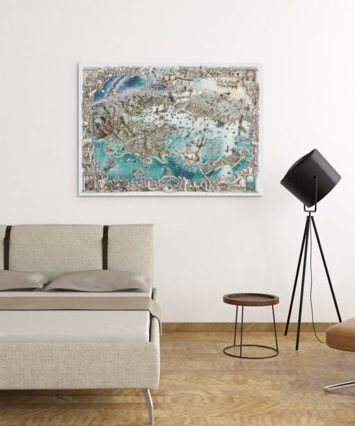 Greek Odyssey Map Artwork on Canvas