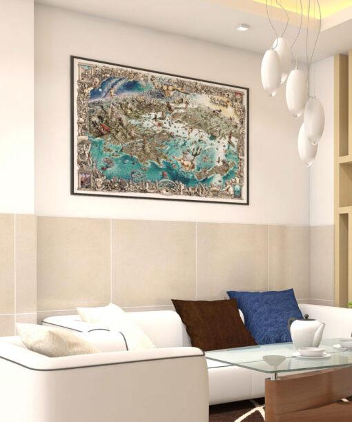 Greek Odyssey Map Artwork Print