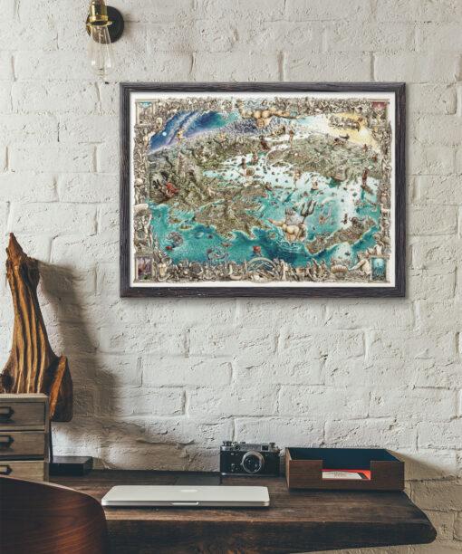 Greek Odyssey Map Artwork Framed Print