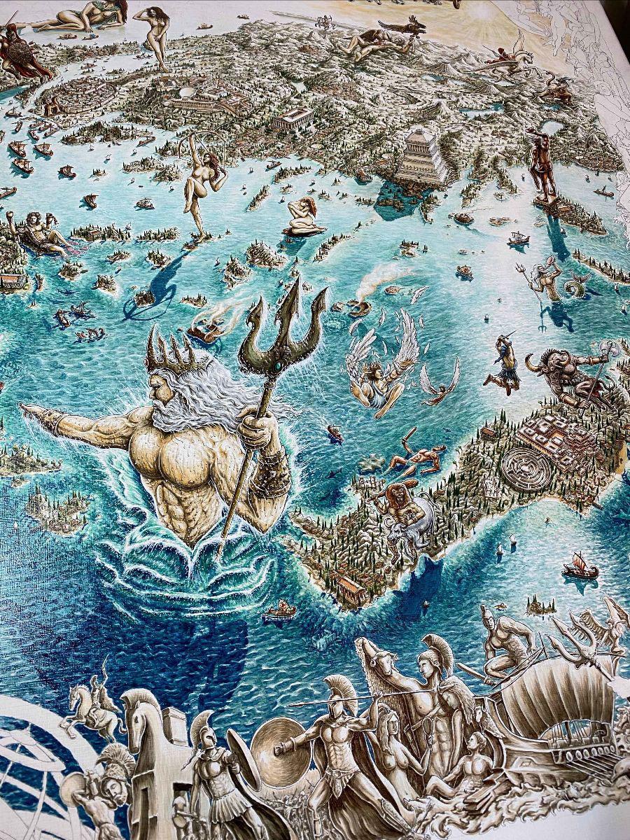 greek mythology ink artwork piece