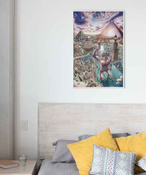 Seven wonders of the world canvas print in bedroom