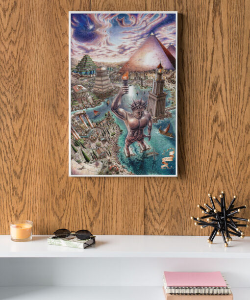Seven wonders of the world canvas print on wall