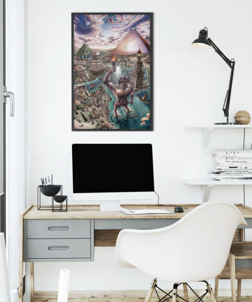 Seven wonders of the world print in office room