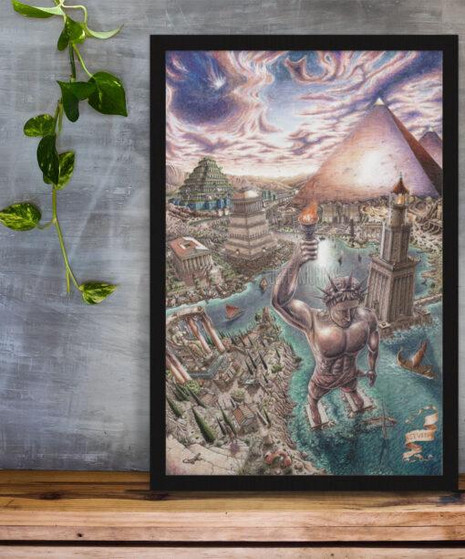 Seven wonders of the world print