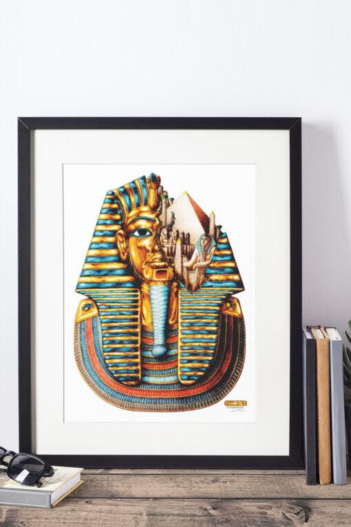 Tutankhamum artwork print framed