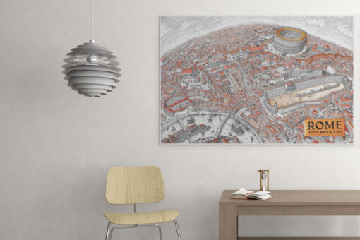 Map of Rome Artwork on Canvas