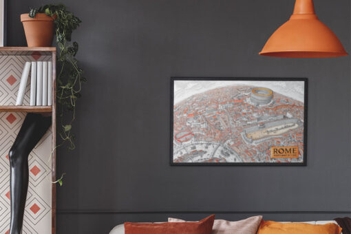 Map of Rome Artwork Printed and FRamed