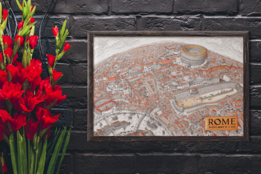 Map of Rome Art Printed in a Frame